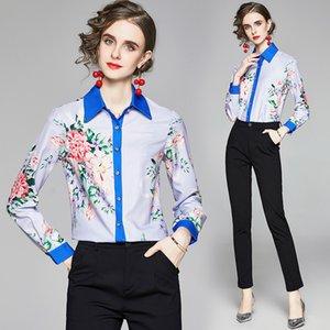2020 Autumn New Shirt Women Blouse Floral Lapel Long Sleeve OL Shirt High-end Elegant Lady Shirt Boutique Girl Tops