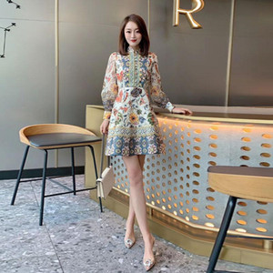 Stylish little skirt spring 2020 new women's small fragrant wind mushroom button retro print thin dress fairy