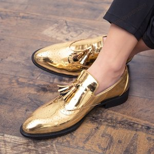 new Spring and autumn men shoes gold Bright skin male comfortable oxford shoes luxury brogues mens Business Moccasin shoes