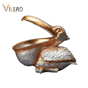 VILEAD 22cm Resin Pelican Figurines Key Holder Entrance Feng Shui Home Accessories Storage Animal Ornament New Year Gift Craft Q1124