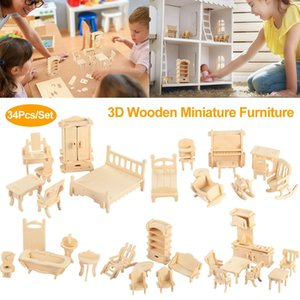 Mini 3D Wooden Puzzle DIY 34 Pcs Miniature Dollhouse Furniture Models For Doll