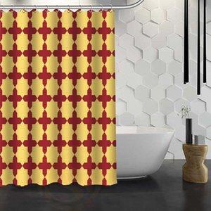 Cortina de ducha de patrones sin fisuras personalizada con ganchos Tela Cortina de ducha para baño