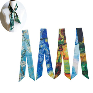 Brand Horse Print Bag Strap Scarf 2020 Womens Silk Scarf Fashion Head Headwear Long Scarves Bag Accessories Ribbon