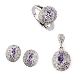 FLEURE ESME Femmes Mariage Ensembles de bijoux pour femmes (anneau / boucle d'oreille / pendentif) Dropshipping Light Purple Zirconia R3182Se1