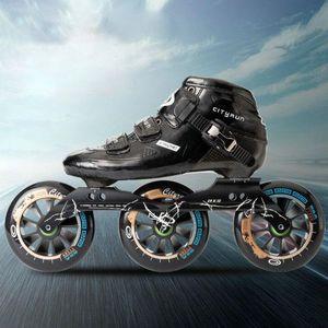 Adult professional speed skating shoes children's carbon fiber racing shoes big three wheel skates