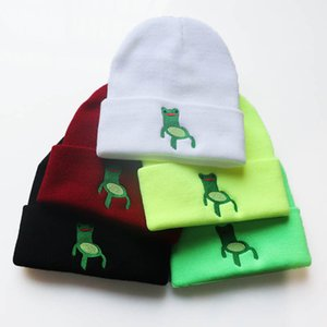Froggy chair Embroidery Beanie Skullies Cap Men Women Knitted Fashion Cartoon Ski Warm Winter Hat 10pcs lot wholesale