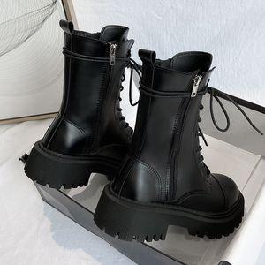 Frauenstiefel Tasche Lace Up Damen Knöchelstiefel Weibliche Kampf Armee Stiefel Chunky Ferse Reißverschluss Kurzstiefel Frau Platform Schuhe Neue