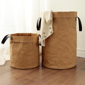 Novo estilo lavável papel kraft durable brinquedo cesta multifuncional saco de armazenamento em casa kids sala sundries organizador q1203