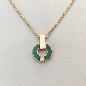 heart diamond necklace gold necklace Fashion Fashion Natural Malachite Letter Pendant with Diamonds Women's Jewelry Gifts for Couples