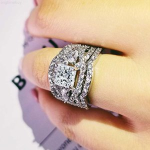 Para la boda de compromiso nupcial mujer anillo conjuntos de moda Dedo Moonso Jewelry R4882 Fowk #