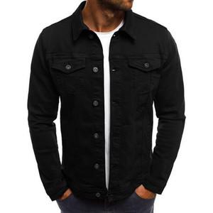 2020 Solid Color Jeans Jackets Denim Jacket Men Fashion Autumn Slim Jackets Mens Casual Denim Coats -down Collar Streetwear