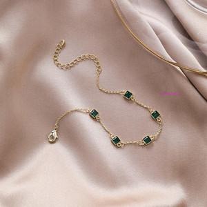 Simple Retro Personality Small Square Emerald Chain Bracelet Net Red Fashion Emerald Versatile