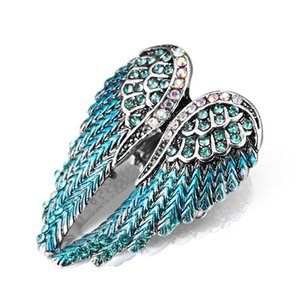 2017 new Europe and the United States diamond three-dimensional angel wings ring women's elastic ring about 13g