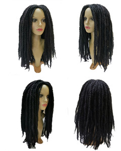 Black Long Wigs for Women, 18-inch Curvy Hair Dirty Braids Oversized Hairstyle Synthetic Fiber Crocheted Twisted Hair Natural Looking Suitab