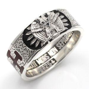 Customade Scottish Rite Master Mason Masonic 32 Double Eagle Sterling Silver Ring Z1121