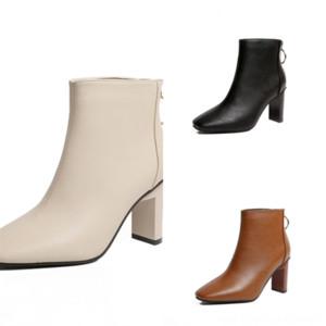 FXUEH Dames Fashion Fashion Square Square Root Retro Superhero Automne Toe carrée et daim d'hiver Noir Couture brun noir Couture épaisse talon
