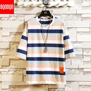 5XL HIP-HOP 2019 T Shirt For Men Fashion Tshirts Striped Male Tees Casual Japanese Summer Short Sleeve Oversized Cotton Stylish1