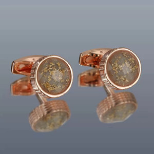 High quality fashionable new style men's cufflinks light luxury inlay color crystal round metal shirt cufflinks gift