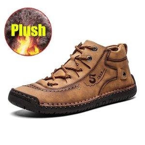 Pelle British-in pelle Casual Pheron maschile Comodo moda Big-Skiking Brown Escursionismo Soft-Brown Scarpe piatte da uomo Wvvq