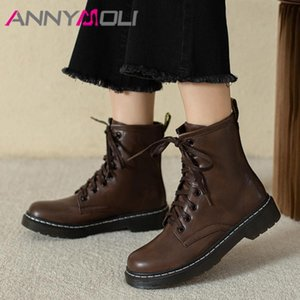 Annymoli flat منصة دراجة نارية الأحذية امرأة الكاحل أحذية جولة اصبع القدم الأحذية الدانتيل يصل قصيرة الإناث الخريف الشتاء أسود الحجم 43