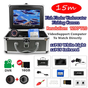 "7"" Inch 15M Underwater Fishing Camera HD 1280*720 LED Finsh Finder Rechargeable 12PCS White Lights + 12PCS Infrared Lamp"
