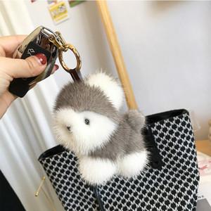 Vizon saç husky kürk çanta kolye sevimli peluş bebek küçük beyaz köpek anahtarlık kız ll7s