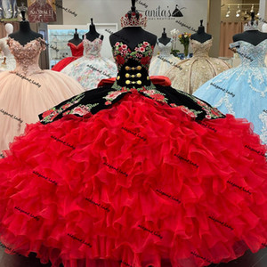 Black Red Princess Quinceanera Dresses 2021 Velvet Embroidery Lace-up Corset Gothic Ruffles Tiered Masquerade Party Gowns