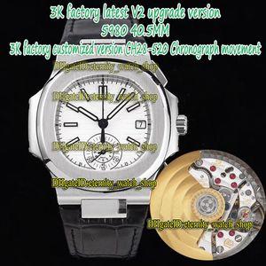 ÉTERNITY 3KF V2 Version Version CH28-520C Chronographe Automatique Cadran blanc Automatique Boîte en acier brossé 5980 Montre Montre En Cuir Sport Montres Sport P