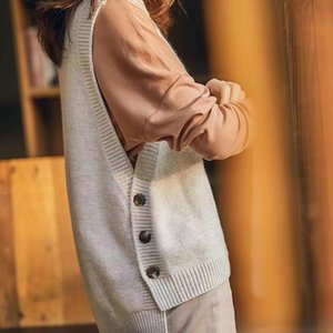 College style hem three button sweater knitted vest women solid o neck sleeveless 201123