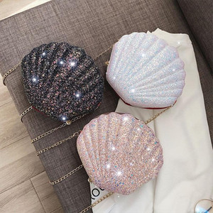 Hot Sale Sequin Shell Womens Shoulder Bags Crossbody Bag Pearl Zipper Messager Bag Shiny Lady Summer Purses Small Sac 2020
