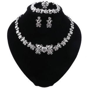 Women Dubai Jewelry Sets Luxury Bridal Nigerian Wedding African Beads Crystal Necklace Earrings Bracelet Set Costume