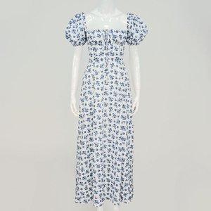 2020 Otoño e invierno New Women's Fashion Bubble Bubble Mostrar Cuello Cuadrado Manga Corta Floral Encaje-Up Alto Duradero Vestido