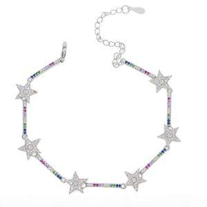 K 2018 Christmas Gift Rainbow Cz Bar Star Link Chain Bracelet 16 +5cm Adjusted Fashion Classic Jewelry For Women