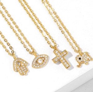 crystal bling hip hop jewelry jesus cross piece pendant necklace with gold plated evil eye elephant hand