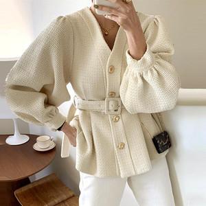 [EWQ] 2020 зимняя женская V-образная выречка однобортный минималистский свободный бежевый хлопок тяжелый твид куртки кардиган пальто с поясом 8Q551