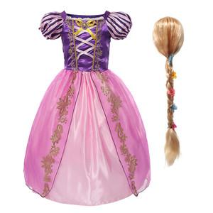 Yofeel Princess Rapanzel Kleid Kostüm für Mädchen Kinder Cosplay Cartoon Tangled Kleid Kinder Geburtstagsfest Fachkleidung 2-8 Jahre q1215