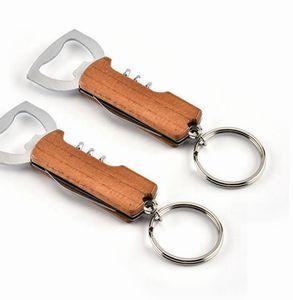 فتاحة مقبض خشبي فتاحة زجاجة المفاتيح سكين pulltap مزدوجة مفصلات المفتاح الفولاذ المقاوم للصدأ فتحات المفاتيح حلقة بار k2