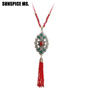 New Turkish Bead Pendant Necklace For Women Natural Stone Strand Chain Antique Gold Color Resin Tassels Necklace Wedding Jewelry