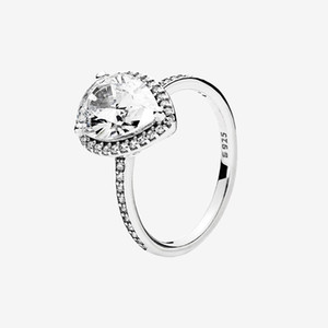 Big CZ diamond Wedding RING Women Girls Engagement Jewelry with box set for Sterling Silver Sparkling Teardrop Halo Ring