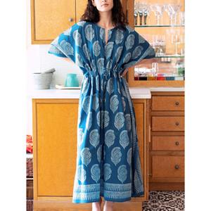 플러스 사이즈 코튼 2020 Robe de Plage Pareo Print Maxi Beach Boho Dress Suit 커버 UPS 수영복 여성