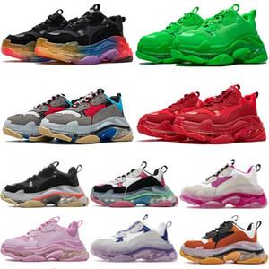 جديد واضح وحيد الثلاثي الأزياء عارضة الأحذية الكريستال أسفل الثلاثي الأحمر النيون الأخضر والأصفر أبي أحذية أزواج 17fw الدانتيل متابعة الرجال النساء أحذية رياضية