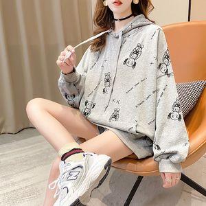 Femel hoodie new-style fashion fleece sweet cartoon blouse street snap long sleeve printed loose plus-size coat