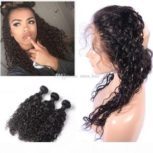 Бразильские человеческие волосы девственницы 4 * 4 шелковая база 360 водная волна фронтальная с пучками свободных волос глубокой волны с 360 кружевной фронталью с пучками