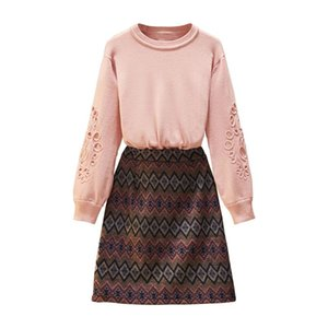 Big Yards Couture Autumn Women Pink Sweater Pullover Top Print Skirt Outfit New Two-Piece Leisure Knitwear Set Clothing suits