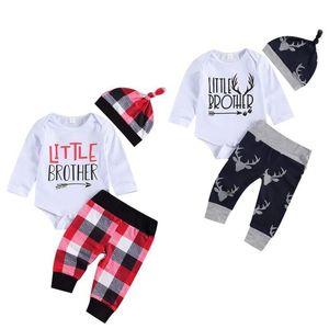 Baby Girls boys Clothing Sets Long Sleeve letter romper Top + Plaid pants +cap 3Pcs Set Autumn Suit Boutique Kids Outfits