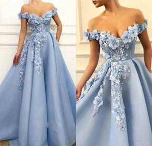 Elegant schulter schulter hellhimmel blaue abendkleider sexy backless 2021 perlen 3d blumen bodenlange formale party prom kleid