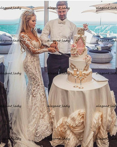Luxury Mermaid Beach Wedding Dresses with Detachable Train 2021 Sheer O-neck 3D Floral Lace Princess Bridal Gown Vestido de