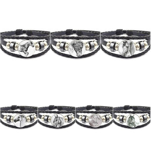 EJ Glaze For Women Vintage Fashion Glass Black Leather Bracelet Bangles Jewelry Handmade Black and White Horse