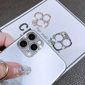 For iPhone 12 Pro Camera Lens Protective Cover Gliter Phone For iPhone 11 12 Pro Max Metal Frame Diamond Gliter Protectors