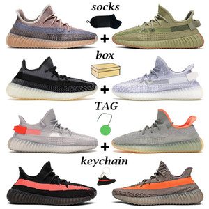 adidas yeezy boost 350 v2 kanye erkekler kadınlar koşu ayakkabıları Fade Carbon Cinder Yecheil Statik Tereyağı Desert Sage Earth Sulphur Natural mens trainers sneaker with box